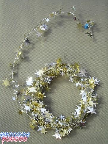 Silver & Gold Star 12' Wire Garland
