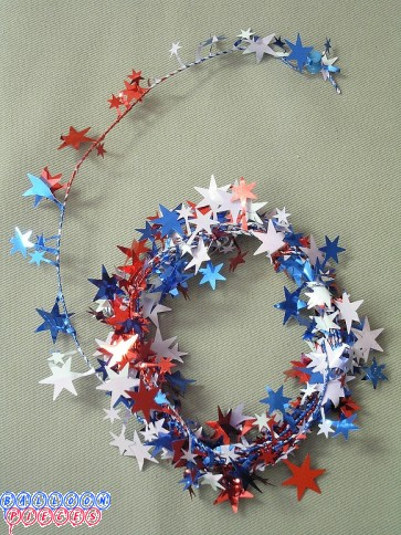 Red, White & Blue Star 12' Wire Garland