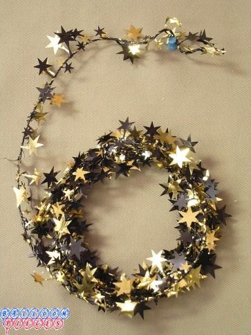 Black & Gold Star 12' Wire Garland