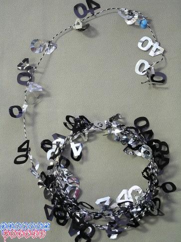 Black & Silver 9' 40th Wire Garland