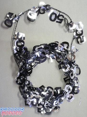 Black &Silver 9' 50th Wire Garland