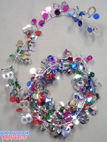 Multicolor 9' 80th  Wire Garland