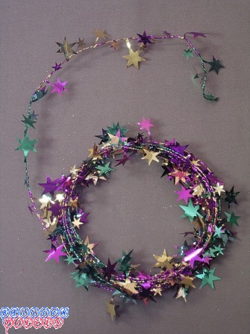 Purple,Green & Gold Star 25'  Wire Garland