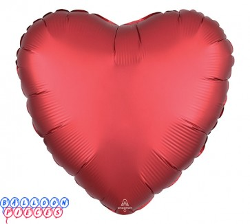 "Satin Luxe Sangria 18"" Solid Color Heart Shape Foil Balloon"