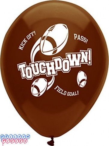 "Football Touchdown 12"" Printed Latex Balloons"