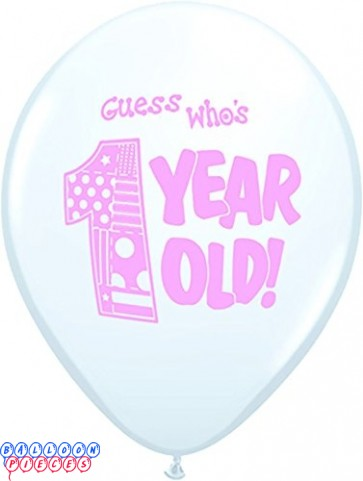 Guess Who's One (Girl) Bright White 12inch Round Printed Latex Balloons 8ct