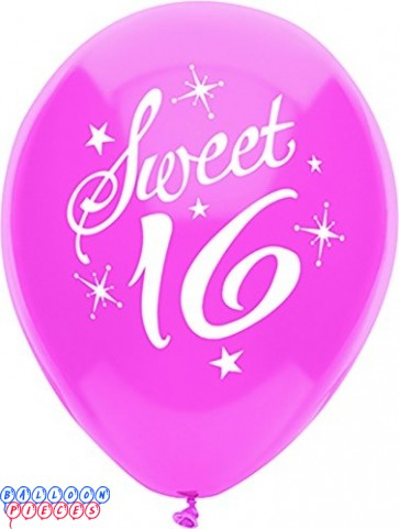 Sweet 16 Sparkles & Stars 12inch Printed Latex Balloons 8ct