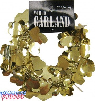 Gold Hearts 25' Wire Garland