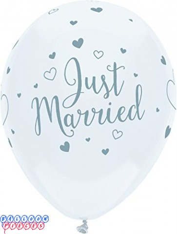 Just Married Hearts Around 12inch Printed Latex Balloons 6ct