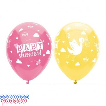 Baby Shower Stock Around 12in Printed Latex Balloons 6ct