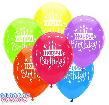 Happy Birthday Candles 12 inch Latex Balloons 6ct