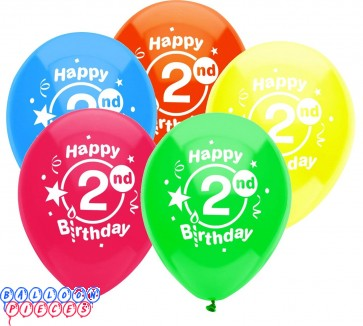 Second Birthday Party 12 inch Latex Balloons 8ct