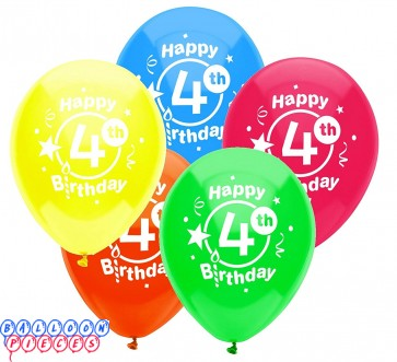 4th Birthday Party 12 inch Latex Balloons 8ct