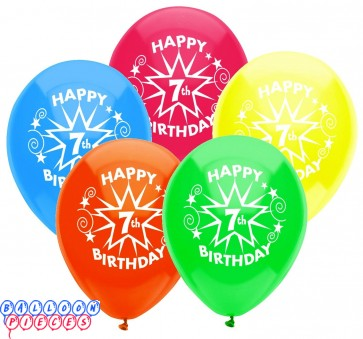 7th Birthday Party 12 inch Latex Balloons 8ct