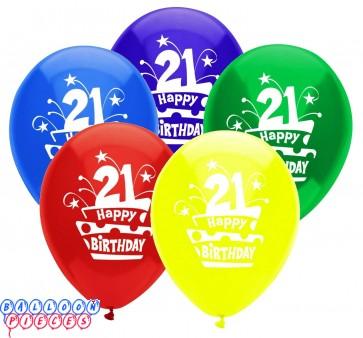 21st Birthday Cake 12 inch Latex Balloons 8ct