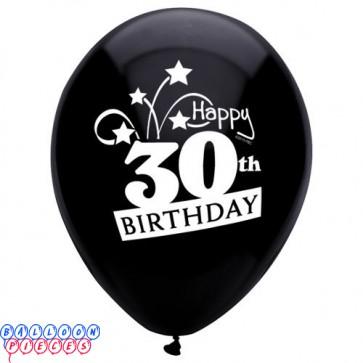 30th Birthday Shooting Stars 12 inch Latex Balloons 8ct