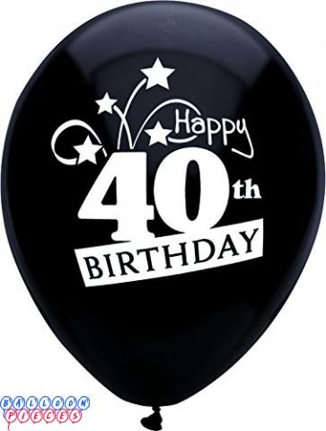 40th Birthday Shooting Stars 12 inch Latex Balloons 8ct
