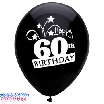 60th Birthday Shooting Stars 12 inch Latex Balloons 8ct