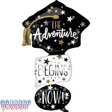 "Giant Stacked Adventure Begins Grad Cap 61"" Foil Balloon"