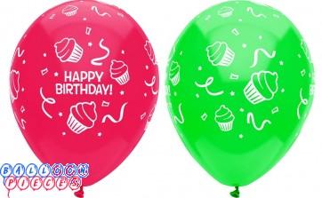 Happy Birthday Cupcakes Around 12 inch Latex Balloons 6ct