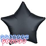 "Satin Luxe Onyx Black 18"" Solid Color Star Shape Foil Balloon"