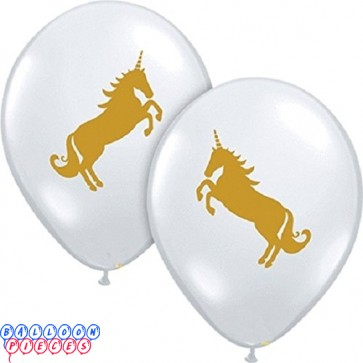 Gold Unicorn 11inch Printed Latex Balloons