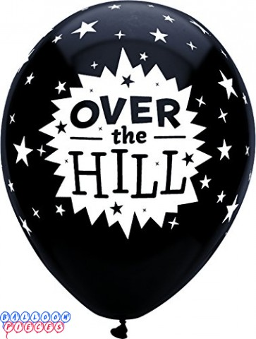 "Over The Hill Pitch Black 12"" Round Printed Latex Balloons"