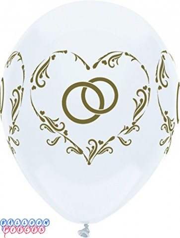 Interlocked Wedding Rings Bright White 12inch Printed Latex Balloons 6ct