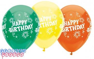 Happy Birthday Burst 12 inch Latex Balloons 6ct