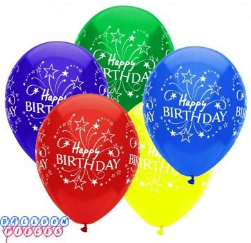 Happy Birthday Shooting Stars 12 inch Latex Balloons 6ct