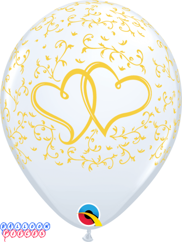 """Gold Entwined Hearts 11"""" Printed Latex Balloons 6ct"""