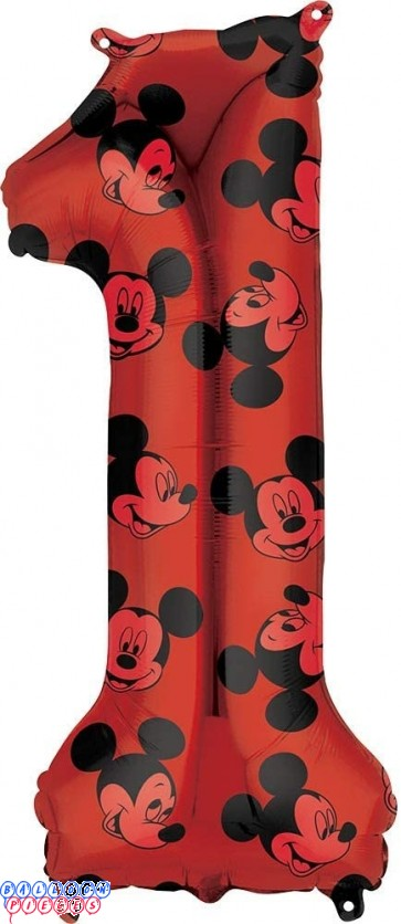 Mickey Mouse First Birthday Red and Black Forever 34 inch Mylar Balloon