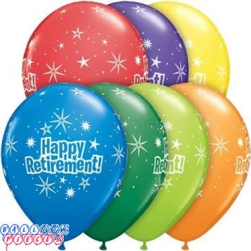 Happy Retirement 11 inch Starburst Around Latex Balloons 6ct