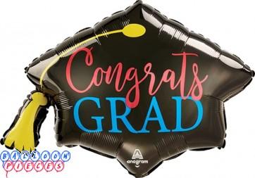 "Congrats Grad Graduation Red Blue Giant foil Balloon 31"""