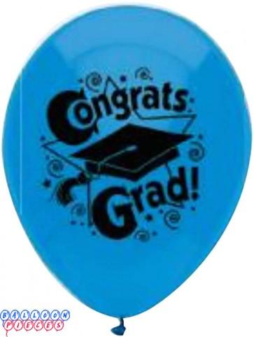 PartyMate Congrats Grad Printed 12 Inch Latex Balloons Bright Blue