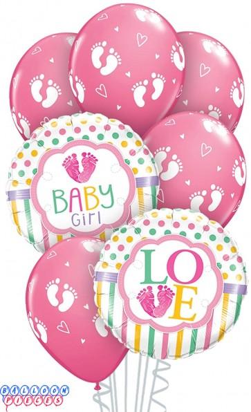 Baby Girl Foot Prints Balloon Bouquet