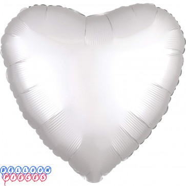 """Satin Luxe White 18"""" Solid Color Heart Shape Foil Balloon"""