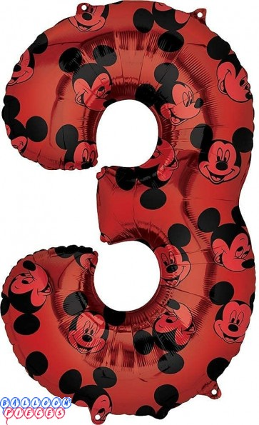 Mickey Mouse 3rd #3 Third Birthday Red and Black Forever 34 inch Mylar Balloon