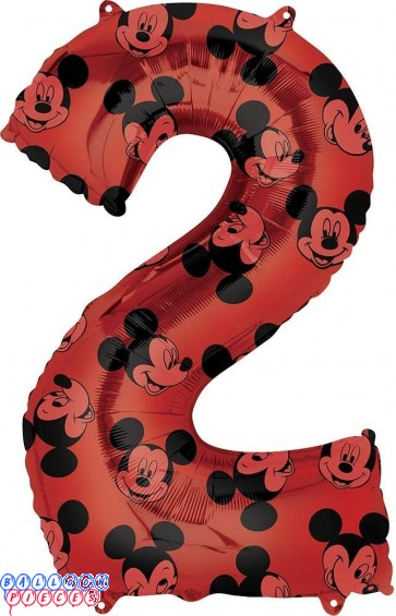 Mickey Mouse Second Birthday Red and Black Forever 34 inch Mylar Balloon