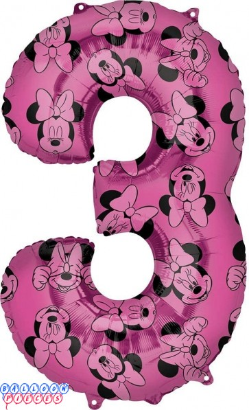 Minnie Mouse Third Birthday Red and Black Forever 34 inch Mylar Balloon