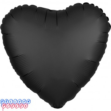 """Satin Luxe Onyx Black 18"""" Solid Color Heart Shape Foil Balloon"""