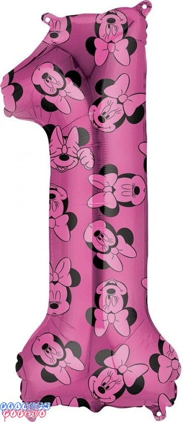 Minnie Mouse First Birthday Red and Black Forever 34 inch Mylar Balloon