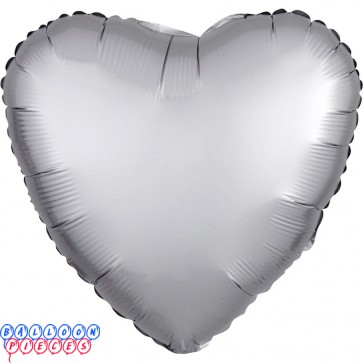 "Satin Luxe Platinum 18"" Solid Color Heart Shape Foil Balloon"
