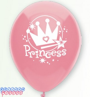 Princess Passion Pink 12inch Round Printed Latex Balloons 8ct