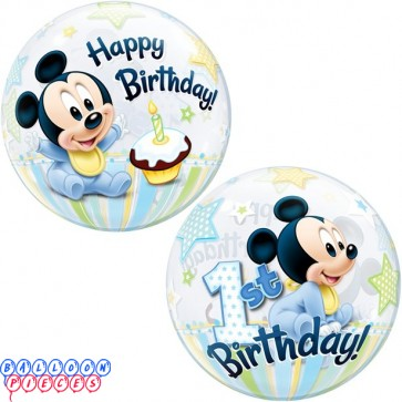 Disney Mickey Mouse 1st Birthday 22 inch Bubble Balloon