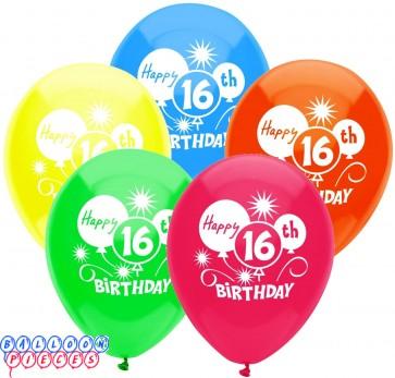 "16th Happy Birthday Party 12"" Latex Balloons 8ct"