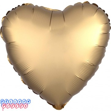 "Satin Luxe Gold 18"" Solid Color Heart Shape Foil Balloon"