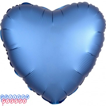 """Satin Luxe Azure 18"""" Solid Color Heart Shape Foil Balloon"""