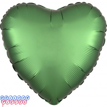 """Satin Luxe Emerald Green 18"""" Solid Color Heart Shape Foil Balloon"""