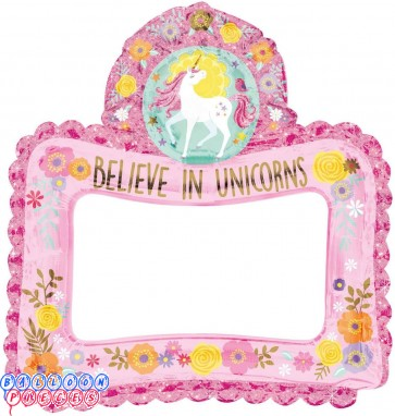 Believe in Unicorn Foil Selfie Frame Balloon